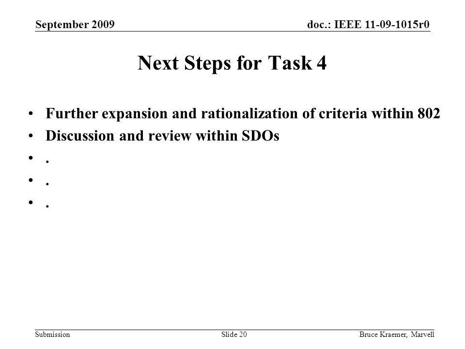 doc.: IEEE 11-09-1015r0 Submission September 2009 Bruce Kraemer, MarvellSlide 20 Next Steps for Task 4 Further expansion and rationalization of criteria within 802 Discussion and review within SDOs.
