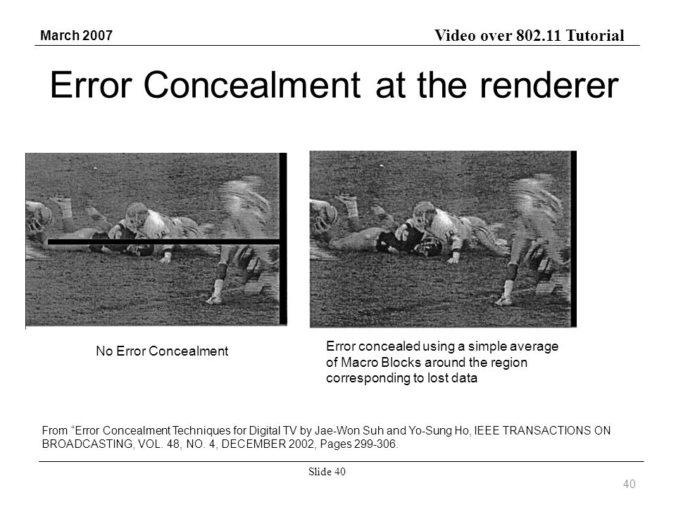 Video over 802.11 Tutorial March 2007 Slide 40 Error Concealment at the renderer From Error Concealment Techniques for Digital TV by Jae-Won Suh and Y