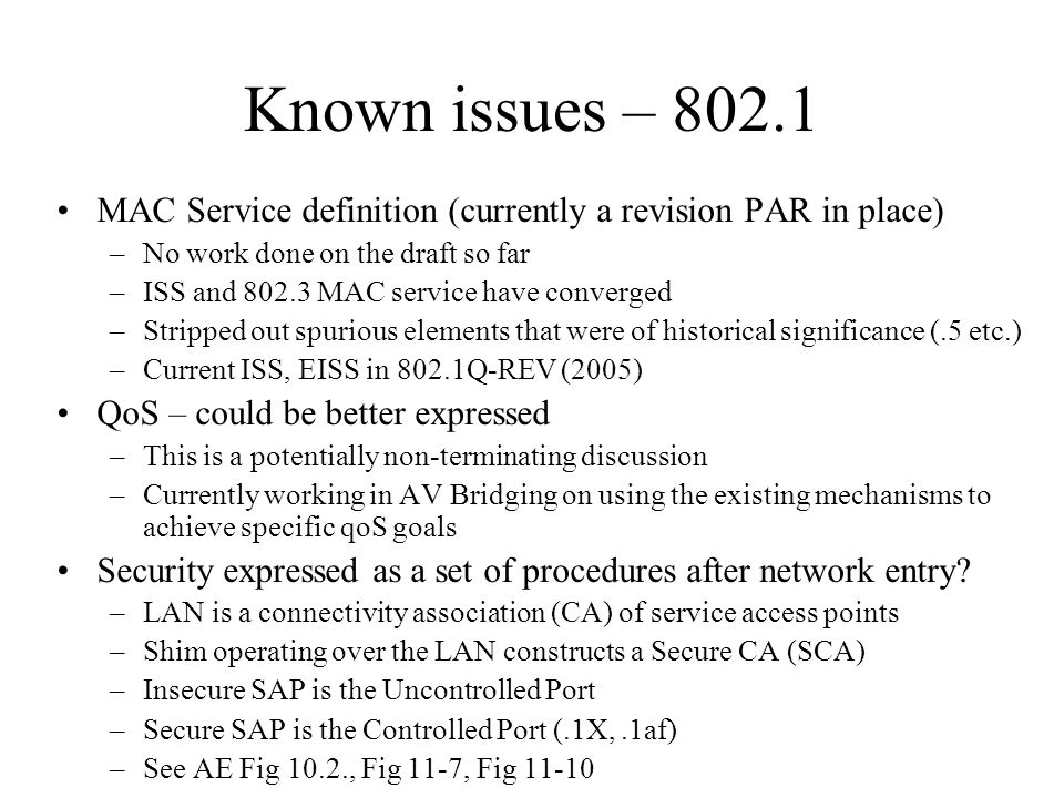 Known issues – 802.1 MAC Service definition (currently a revision PAR in place) –No work done on the draft so far –ISS and 802.3 MAC service have conv