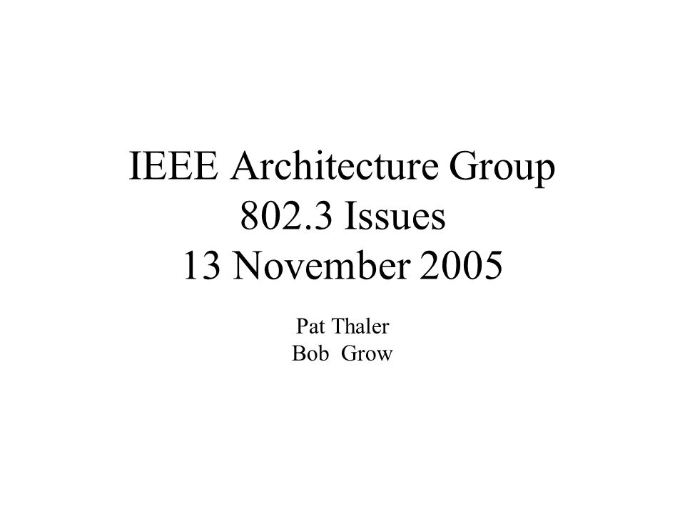 IEEE Architecture Group 802.3 Issues 13 November 2005 Pat Thaler Bob Grow