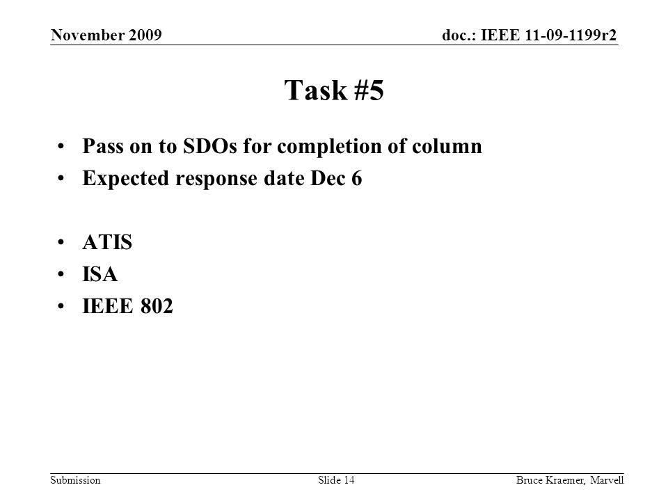 doc.: IEEE 11-09-1199r2 Submission November 2009 Bruce Kraemer, MarvellSlide 14 Task #5 Pass on to SDOs for completion of column Expected response date Dec 6 ATIS ISA IEEE 802