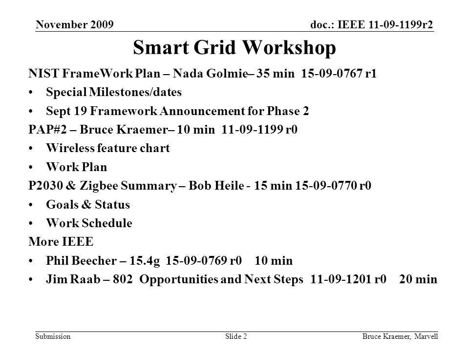 doc.: IEEE 11-09-1199r2 Submission November 2009 Bruce Kraemer, MarvellSlide 13 Initial spreadsheet