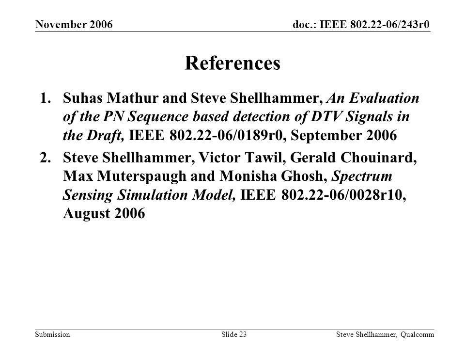 doc.: IEEE 802.22-06/243r0 Submission November 2006 Steve Shellhammer, QualcommSlide 23 References 1.Suhas Mathur and Steve Shellhammer, An Evaluation of the PN Sequence based detection of DTV Signals in the Draft, IEEE 802.22-06/0189r0, September 2006 2.Steve Shellhammer, Victor Tawil, Gerald Chouinard, Max Muterspaugh and Monisha Ghosh, Spectrum Sensing Simulation Model, IEEE 802.22-06/0028r10, August 2006
