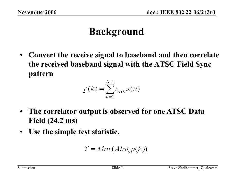 doc.: IEEE 802.22-06/243r0 Submission November 2006 Steve Shellhammer, QualcommSlide 16 Probability of Misdetection Curves