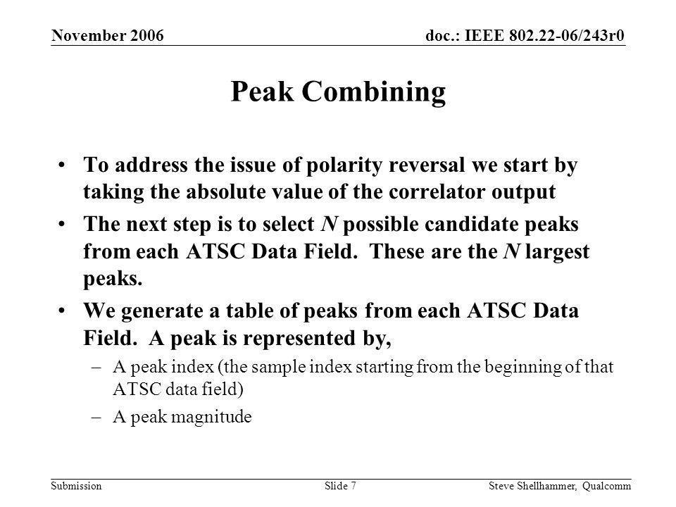 doc.: IEEE 802.22-06/243r0 Submission November 2006 Steve Shellhammer, QualcommSlide 8 Peak Combining – Correlator Output