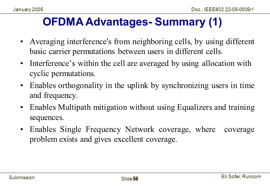 50Runcom Technologies Ltd. Submission Eli Sofer, Runcom January 2005 Doc.: IEEE802.22-05-0005r1 Slide 50 Averaging interference's from neighboring cel