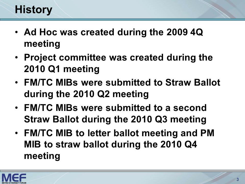 3 History Ad Hoc was created during the 2009 4Q meeting Project committee was created during the 2010 Q1 meeting FM/TC MIBs were submitted to Straw Ballot during the 2010 Q2 meeting FM/TC MIBs were submitted to a second Straw Ballot during the 2010 Q3 meeting FM/TC MIB to letter ballot meeting and PM MIB to straw ballot during the 2010 Q4 meeting
