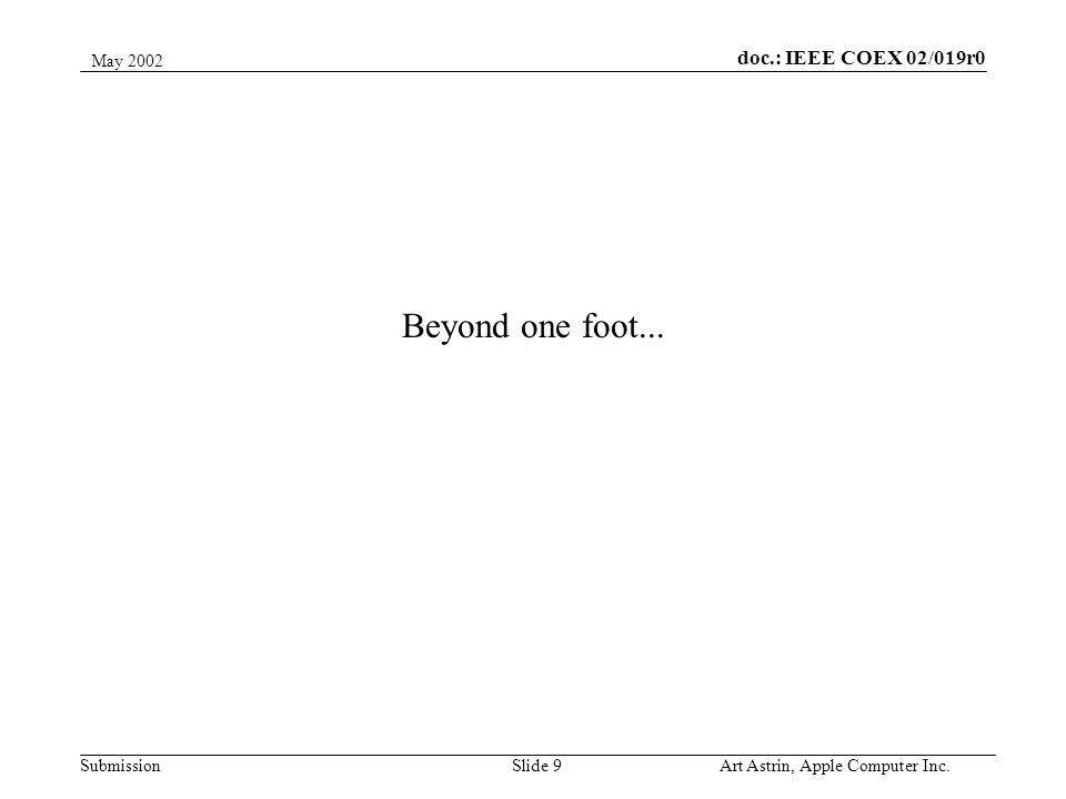 Slide 9 doc.: IEEE COEX 02/019r0 Submission May 2002 Art Astrin, Apple Computer Inc. Beyond one foot...