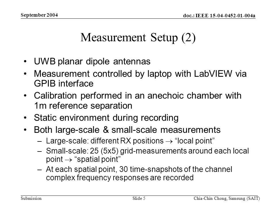 doc.: IEEE 15-04-0452-01-004a Submission September 2004 Chia-Chin Chong, Samsung (SAIT)Slide 5 Measurement Setup (2) UWB planar dipole antennas Measurement controlled by laptop with LabVIEW via GPIB interface Calibration performed in an anechoic chamber with 1m reference separation Static environment during recording Both large-scale & small-scale measurements –Large-scale: different RX positions local point –Small-scale: 25 (5x5) grid-measurements around each local point spatial point –At each spatial point, 30 time-snapshots of the channel complex frequency responses are recorded
