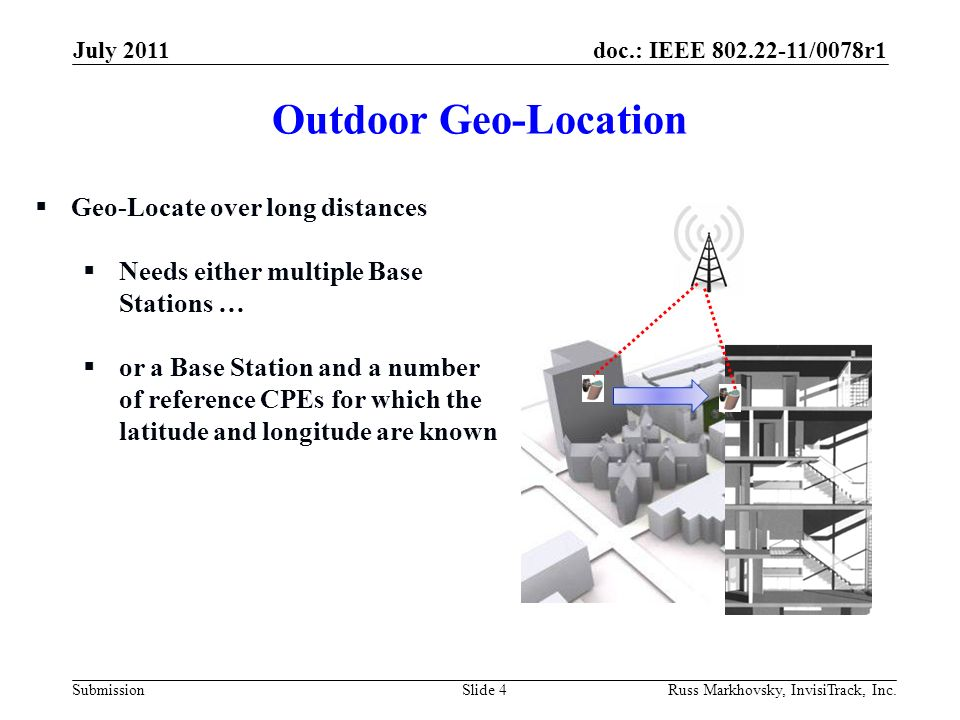 doc.: IEEE 802.22-11/0078r1 Submission Outdoor Geo-Location July 2011 Russ Markhovsky, InvisiTrack, Inc.Slide 4 Geo-Locate over long distances Needs e