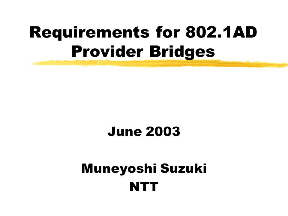 Requirements for 802.1AD Provider Bridges June 2003 Muneyoshi Suzuki NTT
