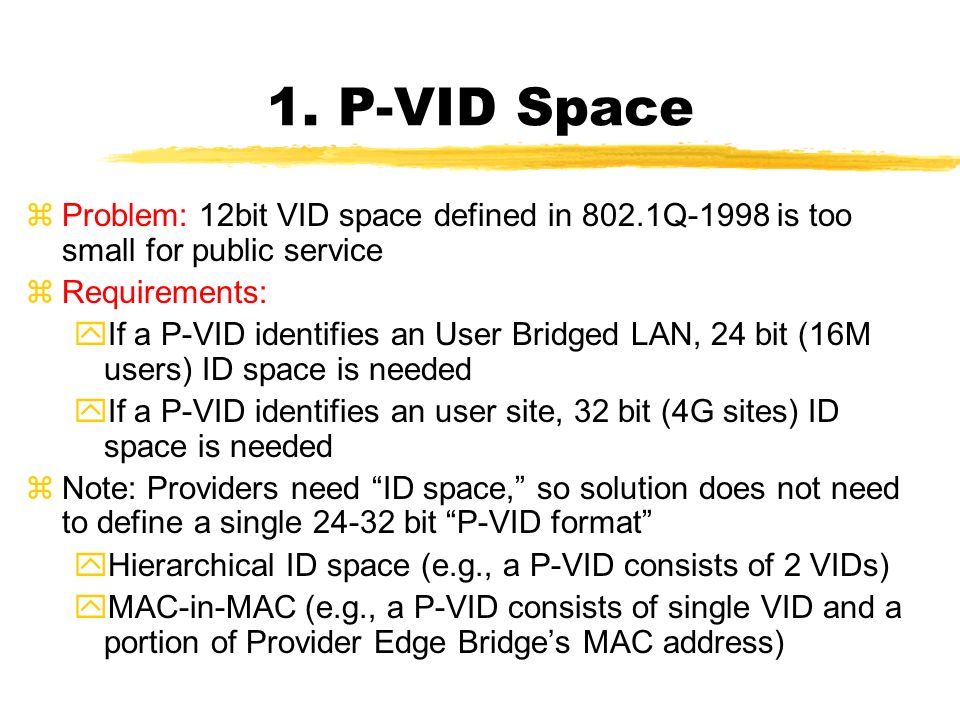 1. P-VID Space zProblem: 12bit VID space defined in 802.1Q-1998 is too small for public service zRequirements: yIf a P-VID identifies an User Bridged