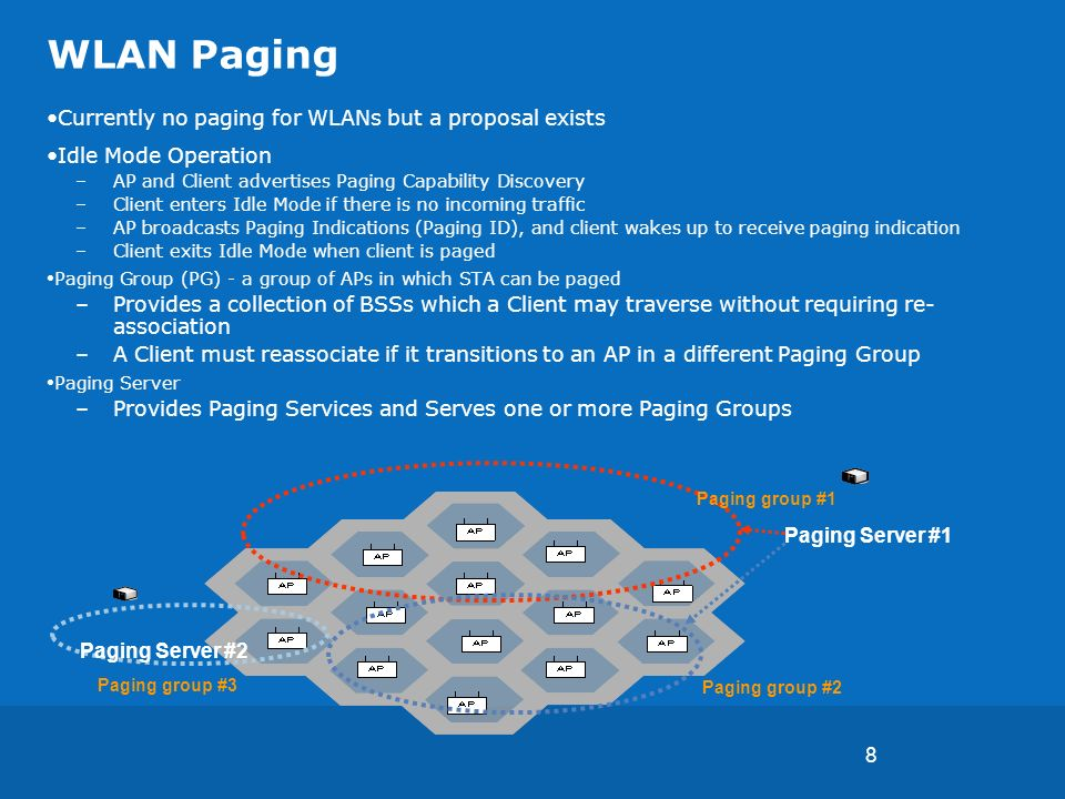8 WLAN Paging Currently no paging for WLANs but a proposal exists Idle Mode Operation –AP and Client advertises Paging Capability Discovery –Client enters Idle Mode if there is no incoming traffic –AP broadcasts Paging Indications (Paging ID), and client wakes up to receive paging indication –Client exits Idle Mode when client is paged Paging Group (PG) - a group of APs in which STA can be paged –Provides a collection of BSSs which a Client may traverse without requiring re- association –A Client must reassociate if it transitions to an AP in a different Paging Group Paging Server –Provides Paging Services and Serves one or more Paging Groups Paging group #1 Paging group #2 Paging Server #2 Paging group #3 Paging Server #1