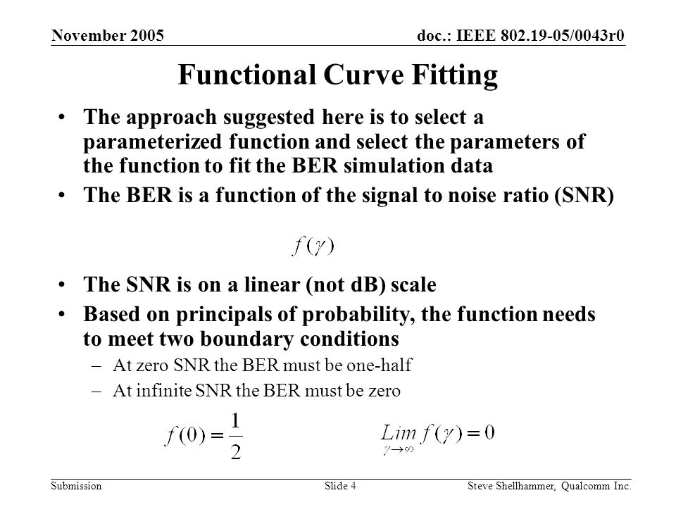 doc.: IEEE 802.19-05/0043r0 Submission November 2005 Steve Shellhammer, Qualcomm Inc.Slide 15 Example – 802.15.4b PSSS in 868 MHz One observation about the results of curve fitting to the 868 MHz data is that the fit is not that good a low SNR The reason for this is the simulation results show that at low SNR the BER appears to be approaching a value less than one-half.