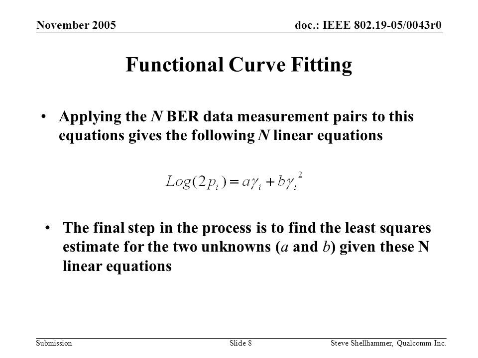 doc.: IEEE /0043r0 Submission November 2005 Steve Shellhammer, Qualcomm Inc.Slide 8 Functional Curve Fitting Applying the N BER data measurement pairs to this equations gives the following N linear equations The final step in the process is to find the least squares estimate for the two unknowns (a and b) given these N linear equations