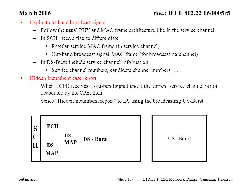 doc.: IEEE 802.22-06/0005r5 Submission March 2006 ETRI, FT, I2R, Motorola, Philips, Samsung, ThomsonSlide 117 Explicit out-band broadcast signal –Foll