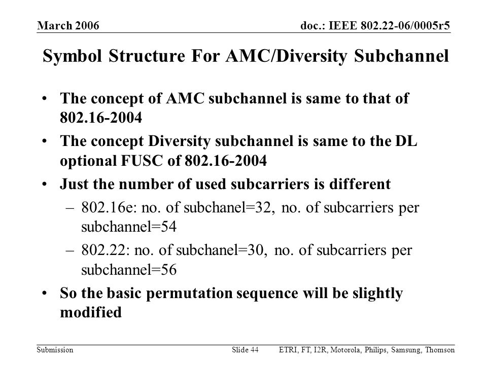 doc.: IEEE 802.22-06/0005r5 Submission March 2006 ETRI, FT, I2R, Motorola, Philips, Samsung, ThomsonSlide 44 Symbol Structure For AMC/Diversity Subcha