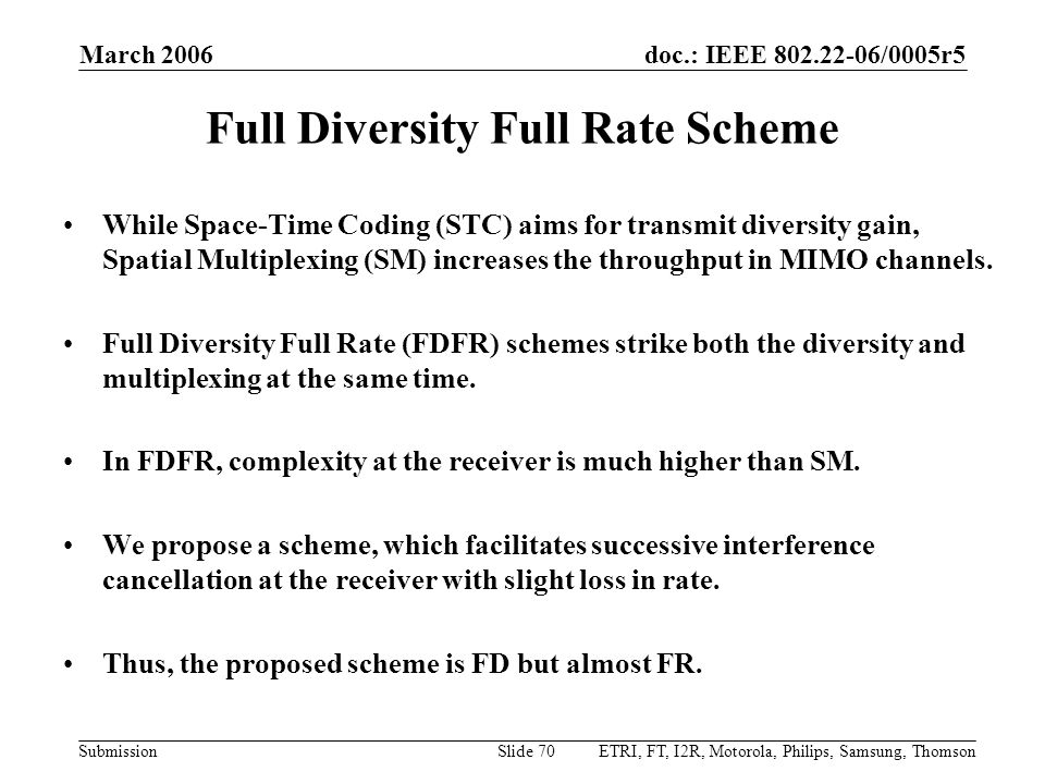 doc.: IEEE 802.22-06/0005r5 Submission March 2006 ETRI, FT, I2R, Motorola, Philips, Samsung, ThomsonSlide 70 Full Diversity Full Rate Scheme While Spa