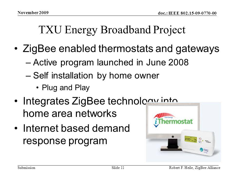 doc.: IEEE 802.15-09-0770-00 Submission November 2009 Robert F. Heile, ZigBee AllianceSlide 11 TXU Energy Broadband Project ZigBee enabled thermostats