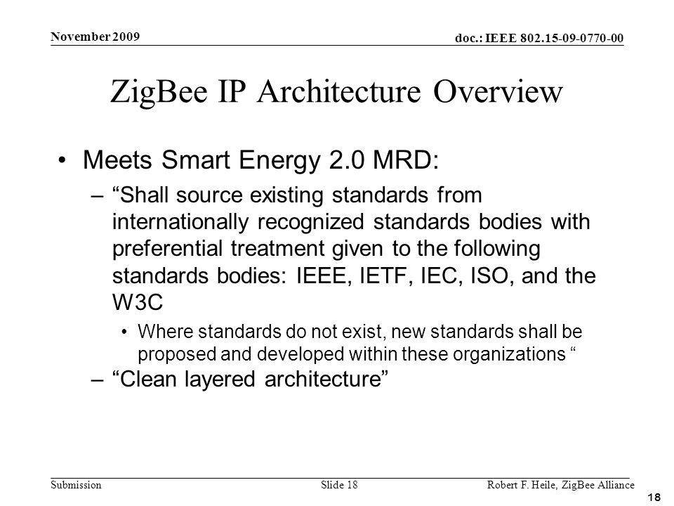 doc.: IEEE 802.15-09-0770-00 Submission November 2009 Robert F. Heile, ZigBee AllianceSlide 18 Meets Smart Energy 2.0 MRD: –Shall source existing stan