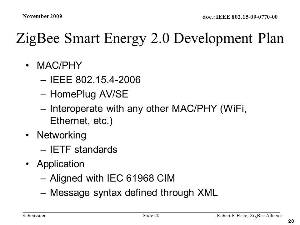 doc.: IEEE 802.15-09-0770-00 Submission November 2009 Robert F. Heile, ZigBee AllianceSlide 20 MAC/PHY –IEEE 802.15.4-2006 –HomePlug AV/SE –Interopera