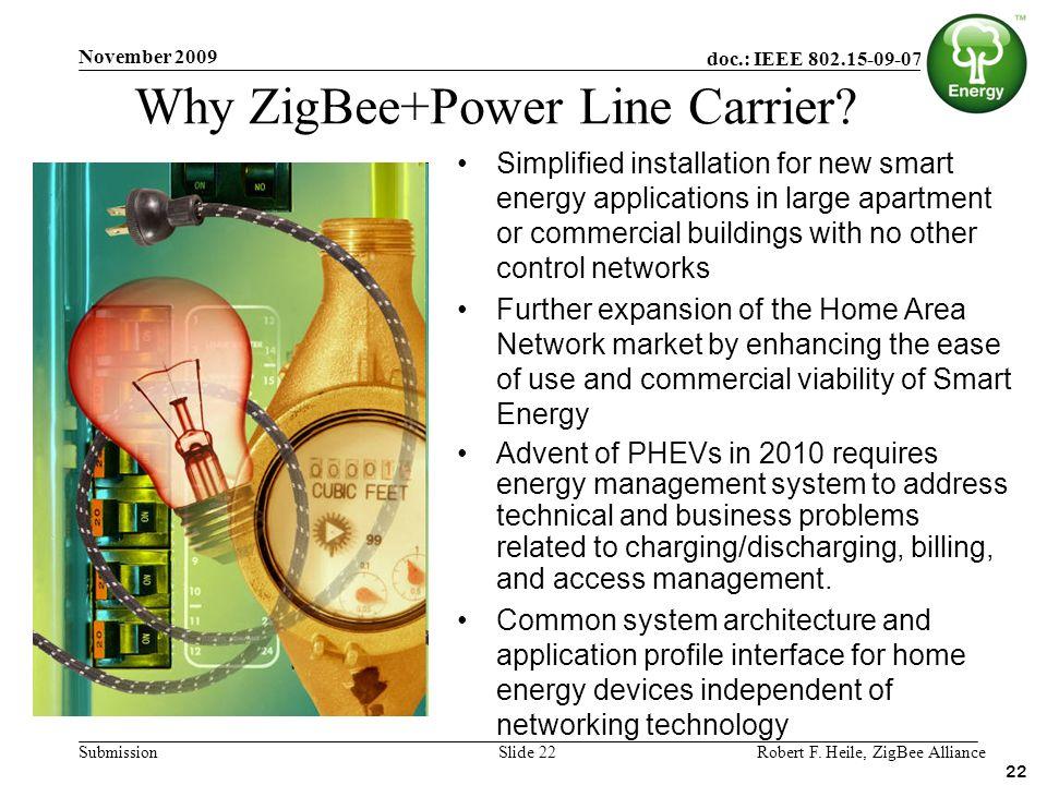 doc.: IEEE 802.15-09-0770-00 Submission November 2009 Robert F. Heile, ZigBee AllianceSlide 22 Simplified installation for new smart energy applicatio