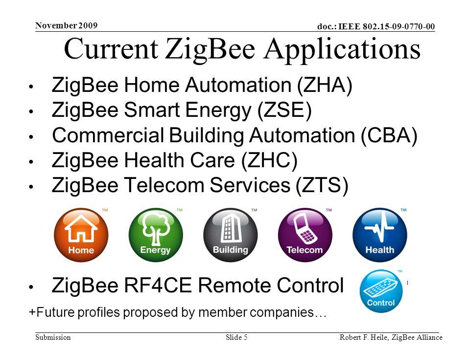doc.: IEEE 802.15-09-0770-00 Submission November 2009 Robert F. Heile, ZigBee AllianceSlide 5 Current ZigBee Applications ZigBee Home Automation (ZHA)