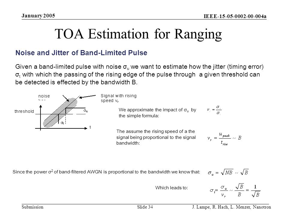 IEEE-15-05-0002-00-004a Submission January 2005 J. Lampe, R. Hach, L. Menzer, NanotronSlide 34 TOA Estimation for Ranging Noise and Jitter of Band-Lim