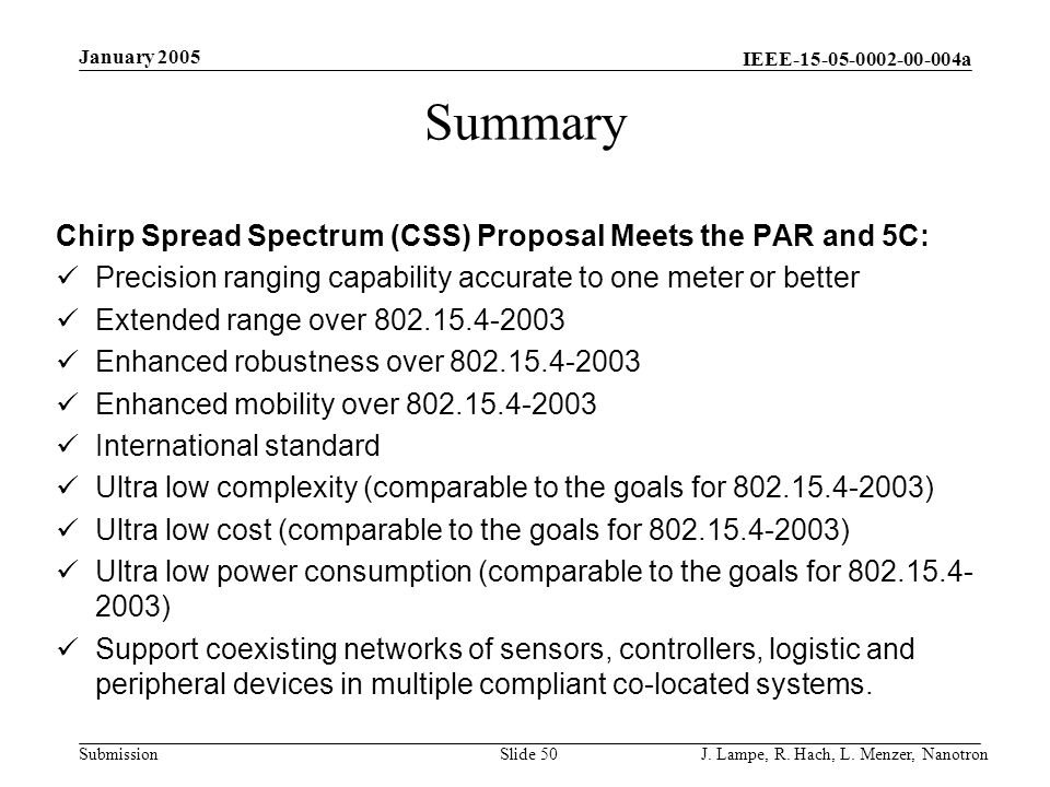 IEEE-15-05-0002-00-004a Submission January 2005 J. Lampe, R. Hach, L. Menzer, NanotronSlide 50 Summary Chirp Spread Spectrum (CSS) Proposal Meets the