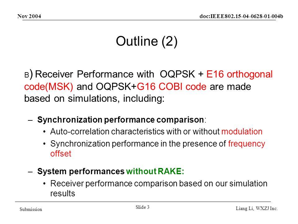 Nov 2004 doc:IEEE802.15-04-0628-01-004b Slide 4 Submission Liang Li, WXZJ Inc.