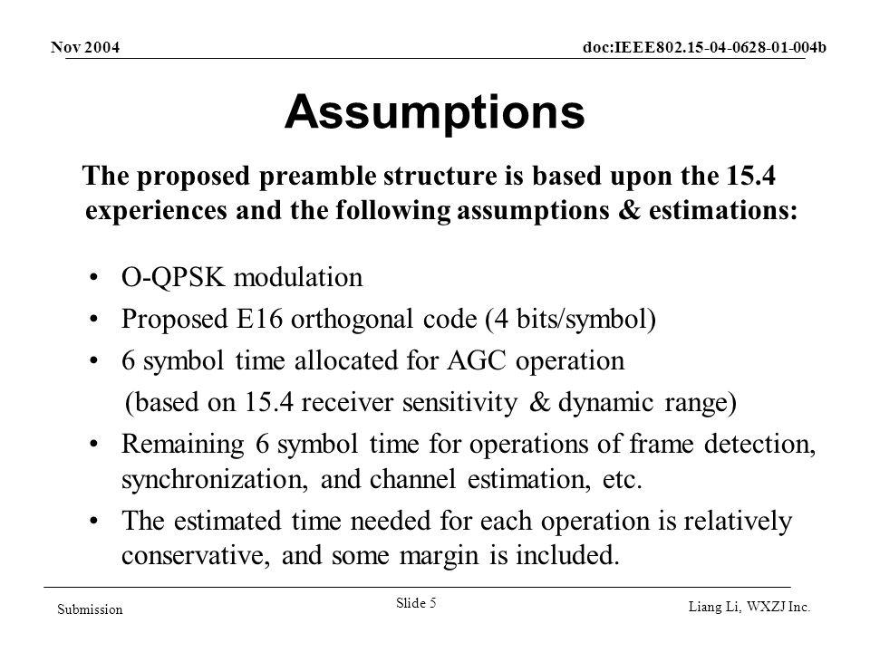 Nov 2004 doc:IEEE802.15-04-0628-01-004b Slide 6 Submission Liang Li, WXZJ Inc.
