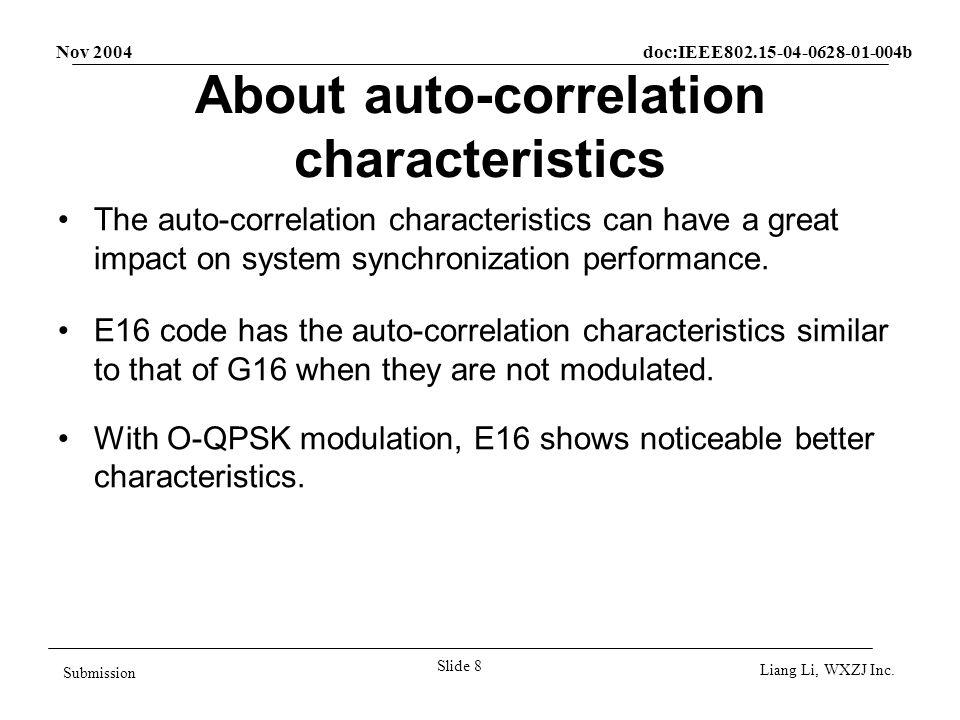 Nov 2004 doc:IEEE802.15-04-0628-01-004b Slide 9 Submission Liang Li, WXZJ Inc.