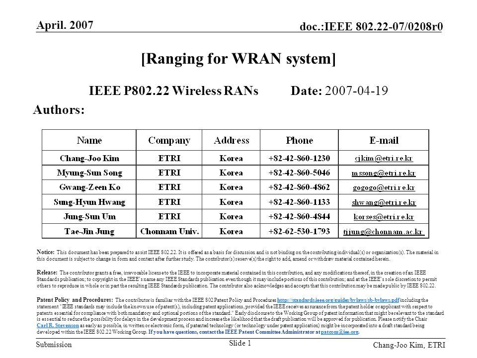 Submission doc.:IEEE 802.22-07/0208r0 April.