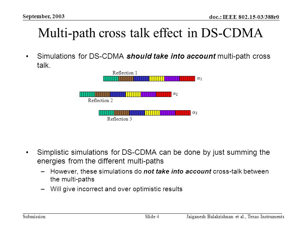 doc.: IEEE 802.15-03/388r0 Submission September, 2003 Jaiganesh Balakrishnan et al., Texas InstrumentsSlide 4 Multi-path cross talk effect in DS-CDMA Simulations for DS-CDMA should take into account multi-path cross talk.