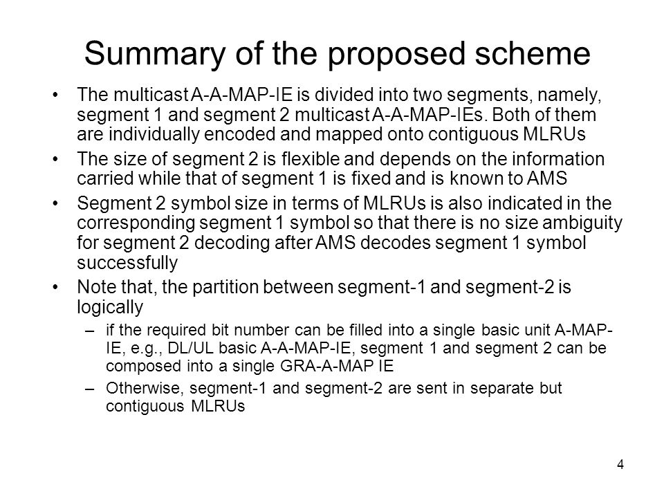 4 Summary of the proposed scheme The multicast A-A-MAP-IE is divided into two segments, namely, segment 1 and segment 2 multicast A-A-MAP-IEs. Both of