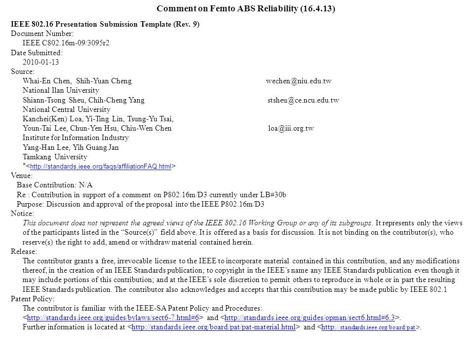 Comment on Femto ABS Reliability (16.4.13) IEEE 802.16 Presentation Submission Template (Rev.
