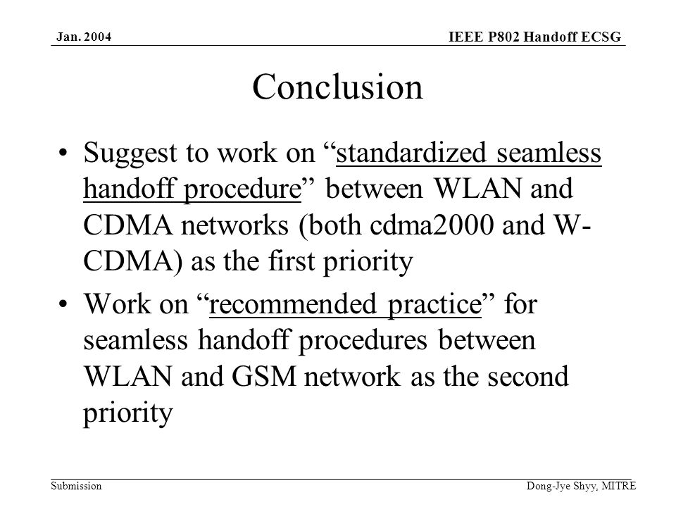 IEEE P802 Handoff ECSG Submission Jan.