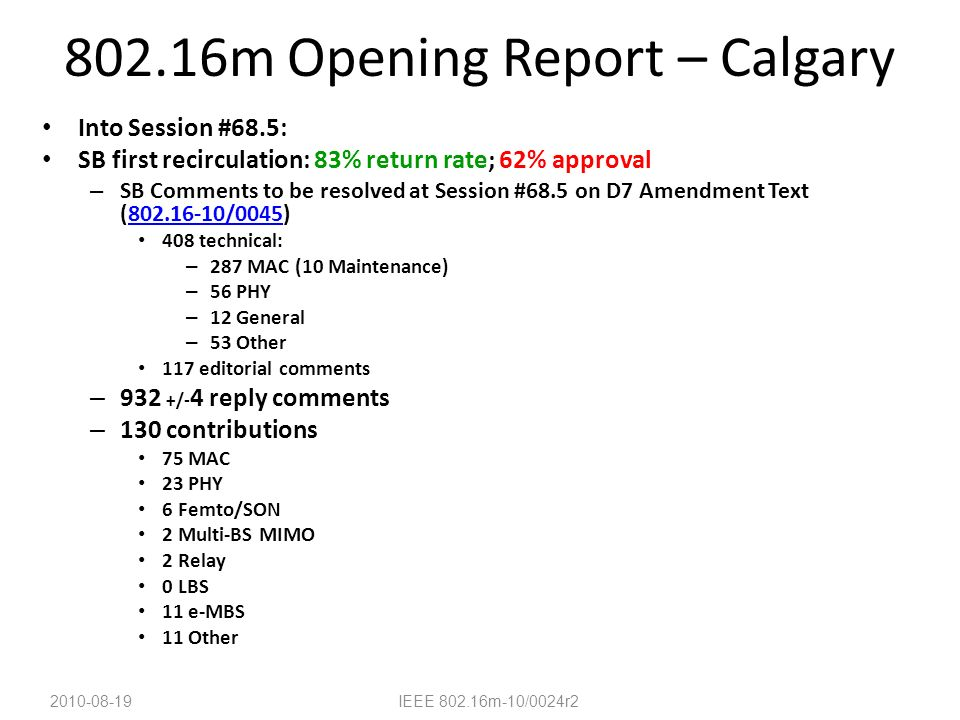 802.16m Opening Report – Calgary Into Session #68.5: SB first recirculation: 83% return rate; 62% approval – SB Comments to be resolved at Session #68