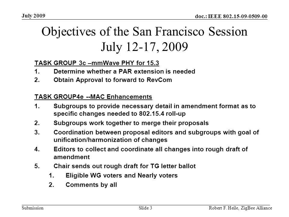 doc.: IEEE 802.15-09-0509-00 Submission July 2009 Robert F. Heile, ZigBee AllianceSlide 3 Objectives of the San Francisco Session July 12-17, 2009 TAS