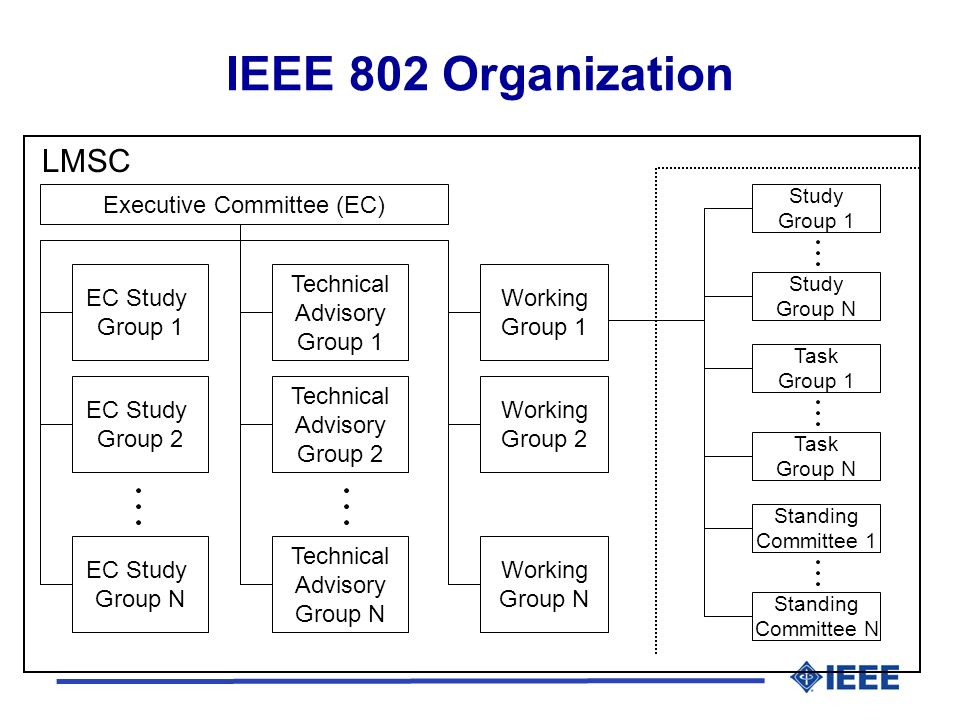 Executive Committee (EC) Technical Advisory Group 1 Working Group 1 IEEE 802 Organization EC Study Group 1 EC Study Group 2 EC Study Group N Technical Advisory Group 2 Technical Advisory Group N Working Group 2 Working Group N Study Group 1 Study Group N Task Group 1 Task Group N Standing Committee 1 Standing Committee N LMSC