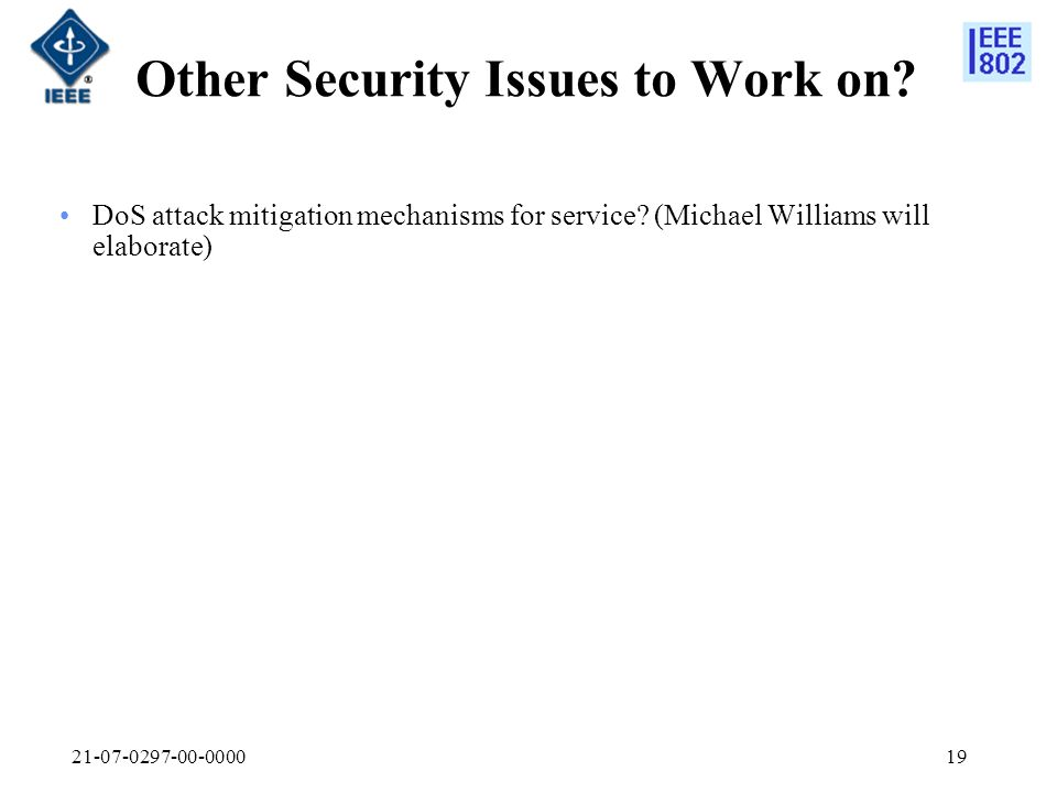 Other Security Issues to Work on.