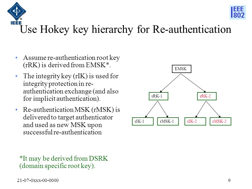 21-07-0xxx-00-00009 Use Hokey key hierarchy for Re-authentication Assume re-authentication root key (rRK) is derived from EMSK*.