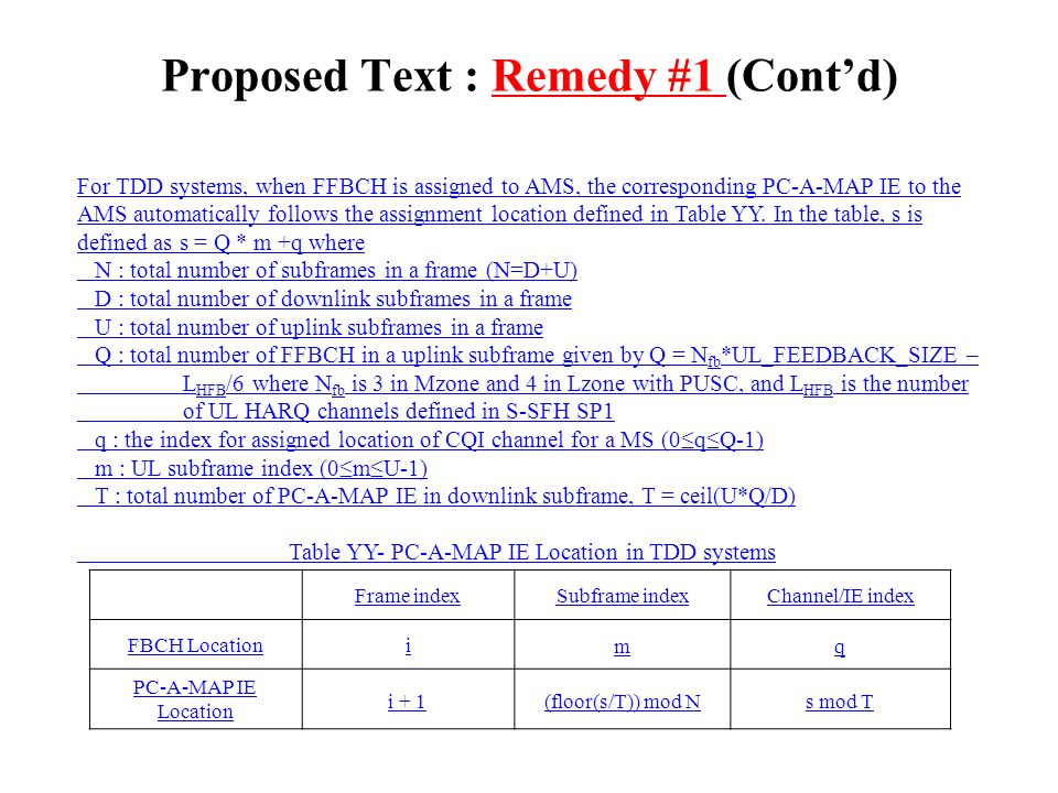 Proposed Text : Remedy #1 (Contd) For TDD systems, when FFBCH is assigned to AMS, the corresponding PC-A-MAP IE to the AMS automatically follows the assignment location defined in Table YY.