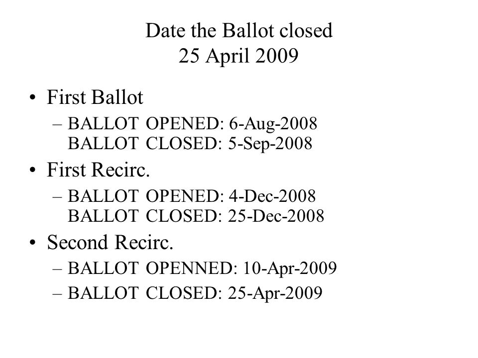 Date the Ballot closed 25 April 2009 First Ballot –BALLOT OPENED: 6-Aug-2008 BALLOT CLOSED: 5-Sep-2008 First Recirc.