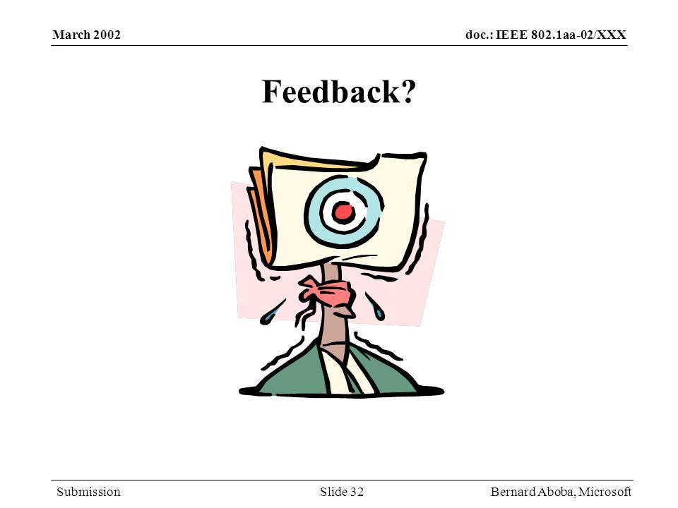 doc.: IEEE 802.1aa-02/XXX Submission March 2002 Bernard Aboba, MicrosoftSlide 32 Feedback?