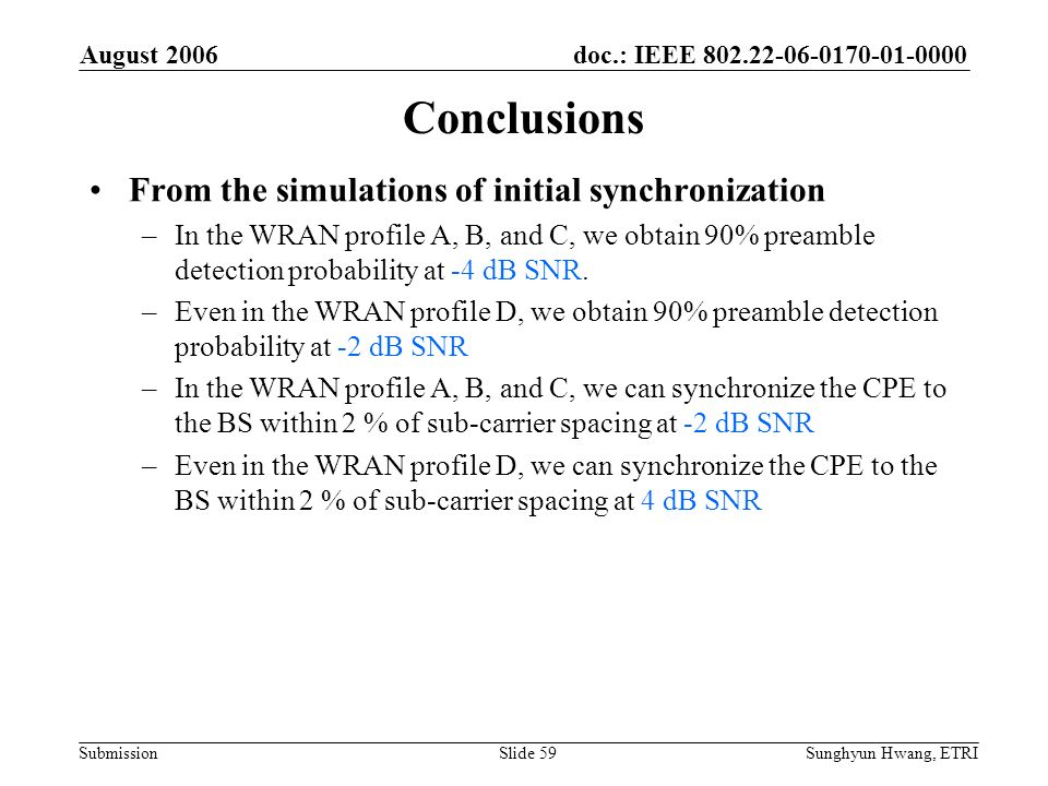 doc.: IEEE 802.22-06-0170-01-0000 Submission August 2006 Sunghyun Hwang, ETRISlide 59 Conclusions From the simulations of initial synchronization –In