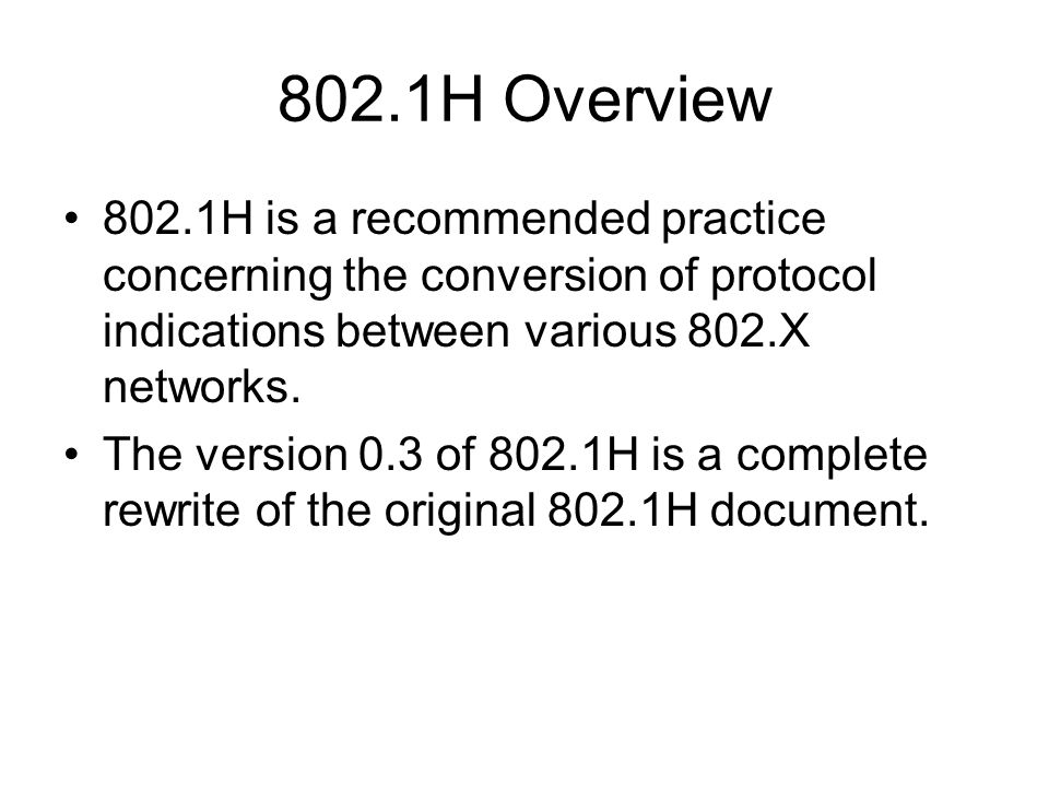 802.1H Project Status Draft P802.1Qay/D0.3 has been released on April 20th.
