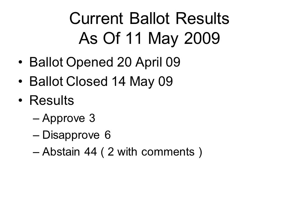 Current Ballot Results As Of 11 May 2009 Ballot Opened 20 April 09 Ballot Closed 14 May 09 Results –Approve 3 –Disapprove 6 –Abstain 44 ( 2 with comme