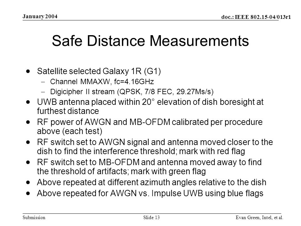 doc.: IEEE /013r1 Submission January 2004 Evan Green, Intel, et al.Slide 13 Safe Distance Measurements Satellite selected Galaxy 1R (G1) Channel MMAXW, fc=4.16GHz Digicipher II stream (QPSK, 7/8 FEC, 29.27Ms/s) UWB antenna placed within 20° elevation of dish boresight at furthest distance RF power of AWGN and MB-OFDM calibrated per procedure above (each test) RF switch set to AWGN signal and antenna moved closer to the dish to find the interference threshold; mark with red flag RF switch set to MB-OFDM and antenna moved away to find the threshold of artifacts; mark with green flag Above repeated at different azimuth angles relative to the dish Above repeated for AWGN vs.