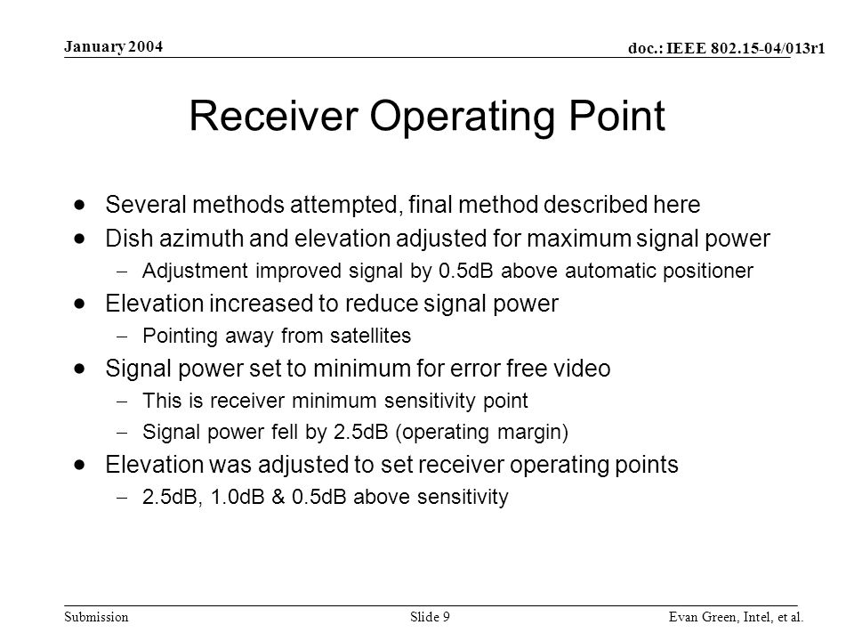 doc.: IEEE 802.15-04/013r1 Submission January 2004 Evan Green, Intel, et al.Slide 9 Receiver Operating Point Several methods attempted, final method d